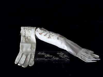 Glamorous 1950s Italian Kid Leather Opera Gloves & Vintage Boxed Glove Soap