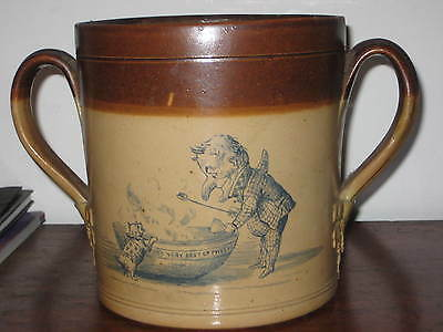 Large Stoneware Tyg / Cup Probably Stiff Lambeth Comical Painted Punch Typescene
