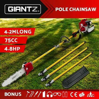 Giantz 75cc Pole Chainsaw Brush Cutter Tree Hedge Pruner Petrol Brush Long