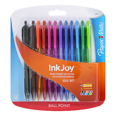 Paper Mate InkJoy 100RT Retractable Ball Point Pens, Assorted, Pack of 12