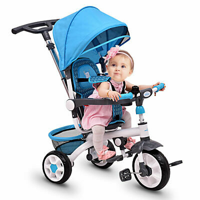 4-In-1 Kids Baby Stroller Tricycle Detachable Learning Toy Bike w/ Canopy Basket