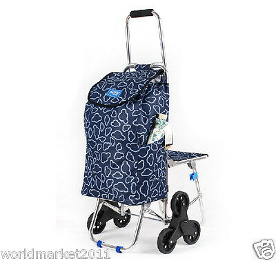 Cloud Pattern Chair Six-Tire Convenient Collapsible Shopping Luggage Trolleys
