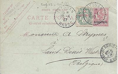 French Morocco 1907 5c surcharge stationery card uprated Tetouan to Belgium