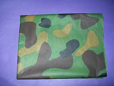 ARMY CAMOUFLAGE DPM CAMO BIRTHDAY WRAPPING TISSUE  PAPER 3 x LARGE SHEETS 20x30