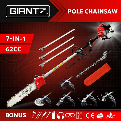 62CC Pole Chainsaw Brush Cutter Whipper Snipper Hedge Trimmer Saw Multi Tool