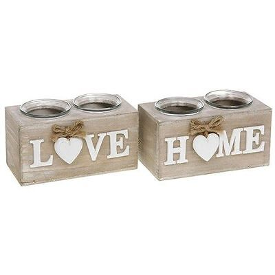 Shabby Chic Provence Heart Double Tea Light Candle Holder Home Or Love