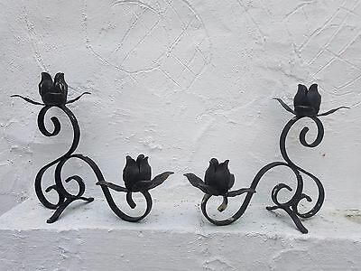 """Pair of Candle Stick Holders """"Black Metal Wrought Iron Style"""".."""