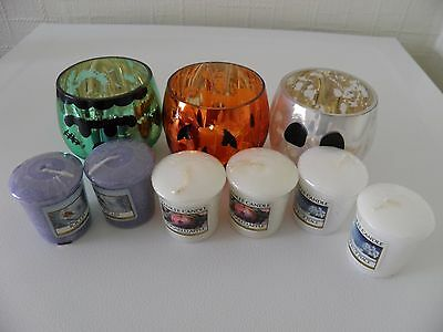3 X Yankee Candle  Votive Holders Plus 6 Yankee Candle Votives