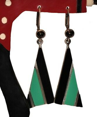 Art Deco Repro Antique Silver And Resin Geometric Dangling Earrings