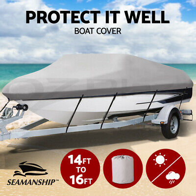 14- 16 ft Boat Cover Trailerable Marine Grade Waterproof 600D Heavy Duty