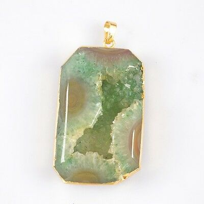 Green Agate Druzy Geode Faceted Pendant Bead Gold Plated H83003