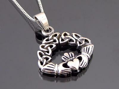 925 Sterling Silver Celtic Claddagh Pendant Necklace
