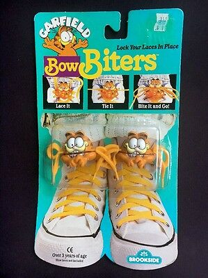 1989 Garfield Bow Biters Shoe Lace Holders New In Box Brookside United Feature S