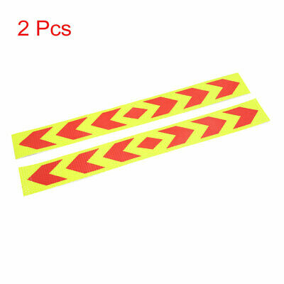 2Pcs Red Yellow Car Body Self Adhesive Reflective Sticker Arrows Pattern Strip