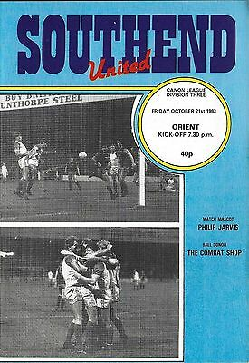 Football Programme>SOUTHEND UNITED v ORIENT Oct 1983