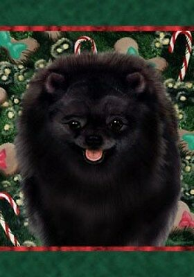Large Indoor/Outdoor Holiday Flag - Black Pomeranian 14255