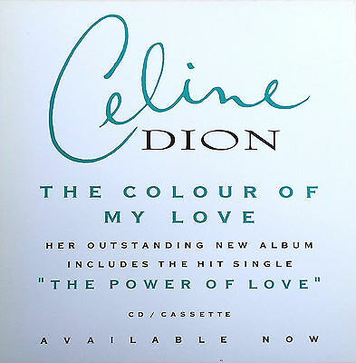 """CELINE DION Display The Colour Of My Love WHITE UK PROMO Rare 12"""" x 12"""" Poster"""