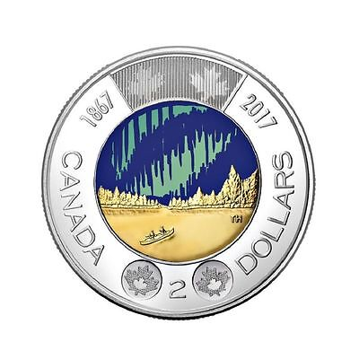 2017 Canada Colored Toonie - Dance of the Spirits GLOW IN THE DARK GITD Coin $2