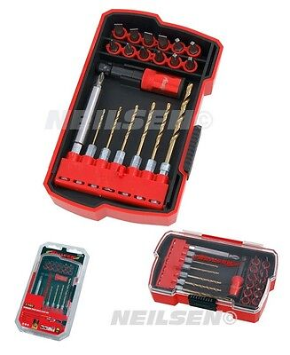 CT4218 21PC Quick Change Titanium Drill And Screwdriver Bit Set In Storage Case