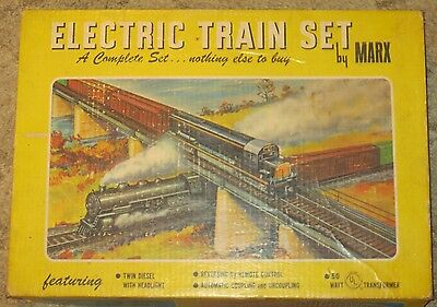 Vintage Marx Electric Train Set W Original Box And Many Train Cars & Locomotive