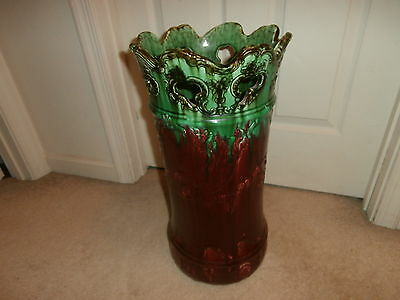 Antique Weller Art Pottery Green Burgundy Umbrella Stand Open Lace Type Top
