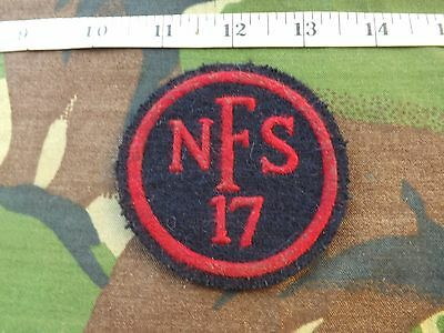 Reproduction, WW2,National Fire Service  N.F.S. 17,(Bristol) Overall Patch