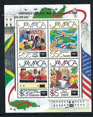 "Jamaica 1986 ""Ameripex 86"" Int Stamp Exhib MS mm"