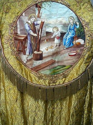 French antique religious cope chape embroidery brocaded gold HolyFamily 19th-cen