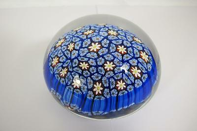 Vintage Murano Art Glass Blue Millefiori Paperweight