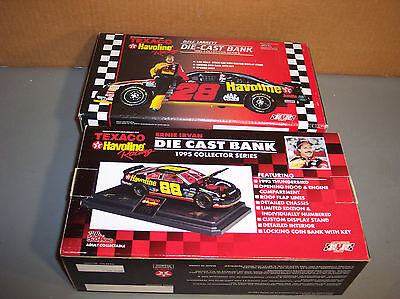 LOT2 TEXACO, Die Cast Bank, 1995 Thunderbird, Ernie Irvan, Dale Jarrett 1/24