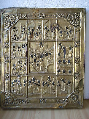 Antique Russian Orthodox brass icon riza,,Church Feasts,, from 19c.