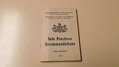 """""""safe Practices Recommendations"""" 1960 Ed. Booklet"""