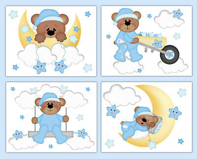 Teddy Bear Woodland Animal Nursery Decal Wall Art Mural Cloud Stars Moon Sticker