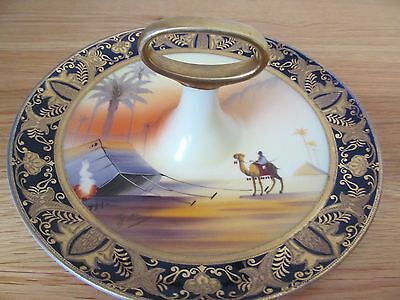 Camel China Hand Painted Desert Scene Cake Plate with Handle