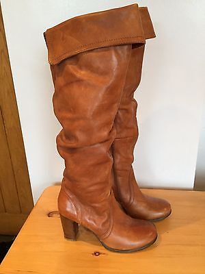 LADIES BROWN LEATHER KNEE LENGTH HIGH HEELED BOOTS By FAITH - SIZE 5