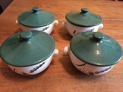 DENBY GREENWHEAT 4 x LUG HANDLED LIDDED SOUP BOWLS Green White Greenwich