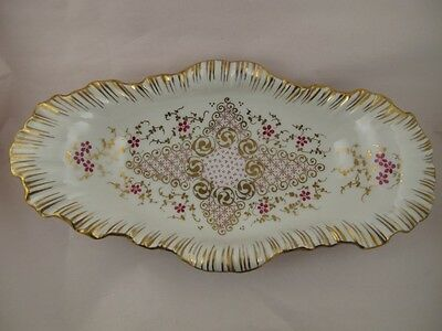 KPM State's Porcelain Manufactory Berlin Dish with Gold Scrolls Pink Flowers
