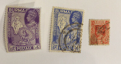 Burma lot 3 stamps UK Colony  1945 - 46 env706