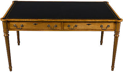 Antique Style New Writing Table Library Desk Rounded Corners Black Leather Top