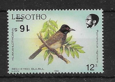LESOTHO SG948a 1990 16s ON 12s BIRD OVPT INV MNH