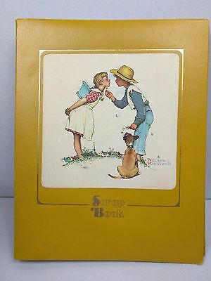 Vintage Embossed Leather Scrapbook Family Pictures Normal Rockwell Buttercup USA
