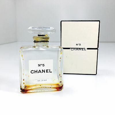 Vintage Chanel No. 5 Perfume Crystal Bottle Empty 1/2 Oz Size 8 Bottle With Box
