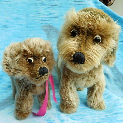 Two best buddies googly eyed vintage dogs old toys collectables vgc jointed head