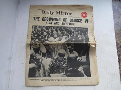 Vintage Daily Mirror Newspaper, Crowning Of George 6Th + Queen Mary May 13 1937.