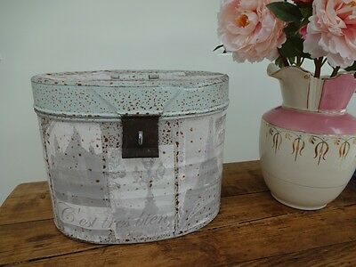 Antique Vintage Metal Hat Tin Box Painted Upcycled Shabby Chic French Style