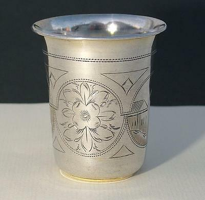 Engraved Antique Russian Sterling Silver Beaker Cup Marked Moscow 1890