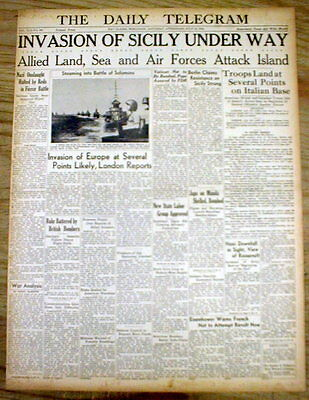 1943 WW II headline newspaper US & its ALLIES INVADE the ISLAND of SICILY Italy