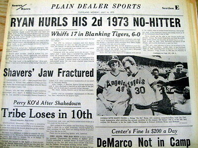 2 newspapers -1973 & 1991 w NOLAN RYAN pitches NO HITTERS almost 20 years apart