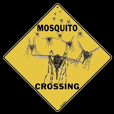 """MOSQUITO Crossing Sign, 12"""" on sides, 16"""" on Diagonal, Aluminum, Indoor/Ourdoor"""