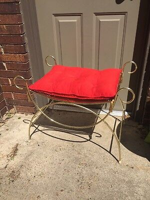 Vintage Hollywood Regency Vanity Stool, Bench With Red Cushion Removable
